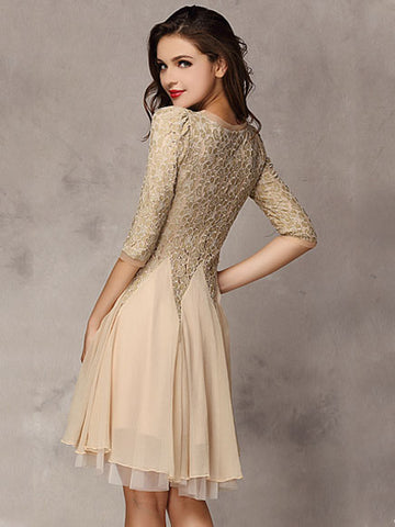 Summer Cute Lace Half Sleeve Chiffon Midi A-line Cocktail Dress
