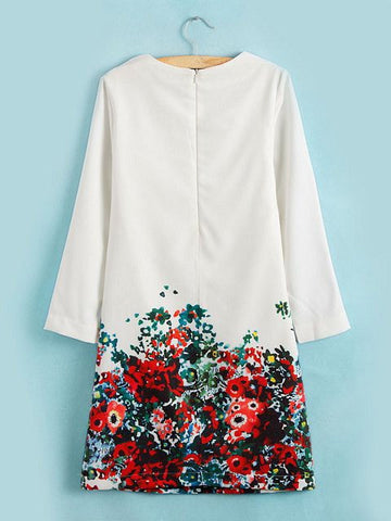 Spring Long Sleeve Loose Round Neck White Floral Printed Dress