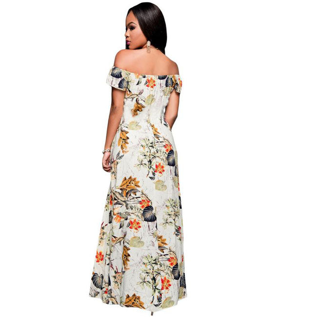 584f728860 Summer Off-Shoulder Boho Style Beige Floral Print Split Long High Low Swing Maxi  Dress