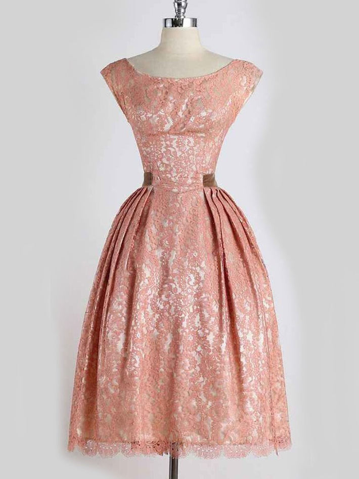 Pink Lace Sleeveless Swing Audrey Hepburn Vintage Dress