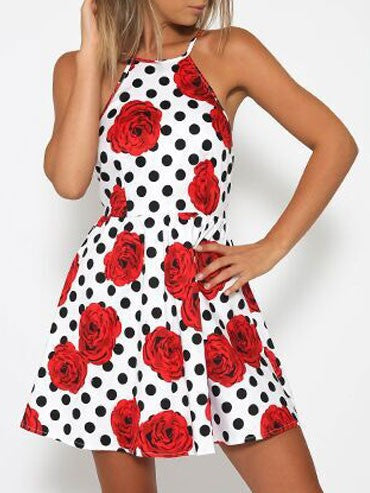 82bc81caf884 Summer Cute Sexy Red Flowers Polka Dots Open Back Dress – VSChic