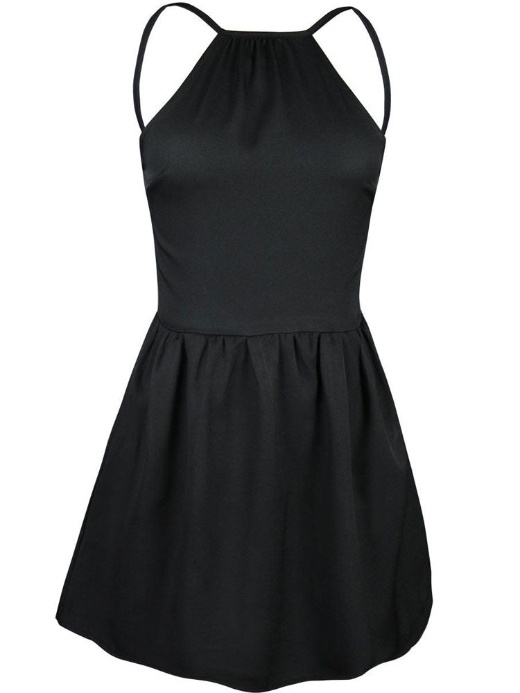 Summer Short Dresses Backless Mini A-line Cami Dress