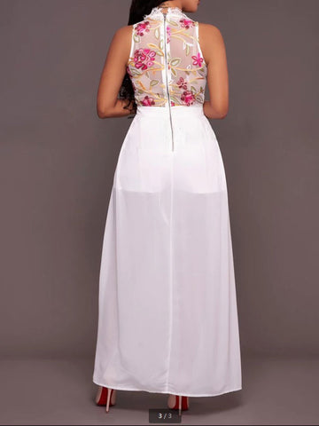 Summer Sleeveless Flower Embroidery Perspective Mesh Maxi Dress