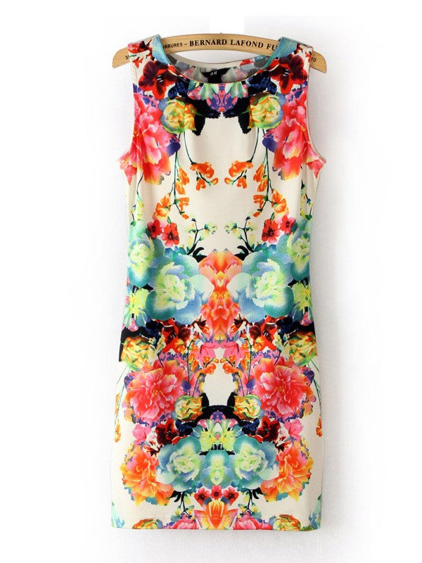 Summer Sleeveless Mixed Colors Flowers Print Vest Short Bodycon Dress