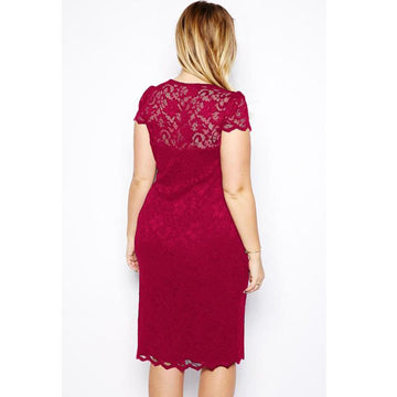 Summer V-neck Short Sleeve Lace Midi Party Work Pencil Dress Plus Size