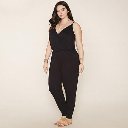 Summer V-neck Sleeveless Plus Size Jumpsuits Pants