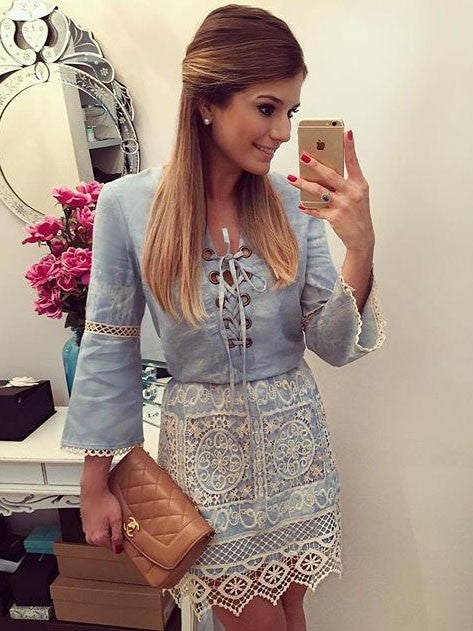 Sweet Blue Lace Stitching Denim Long-sleeved Mini Dress