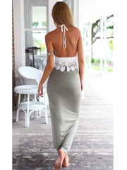 Summer Two-Piece Lace Backless Crop Top with Irregular Long Skirt Dress