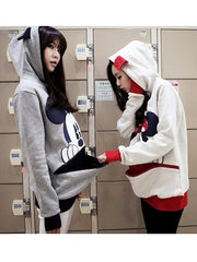 Casual Hooded Couples Clothing Cartoon Animal Print Hoodie