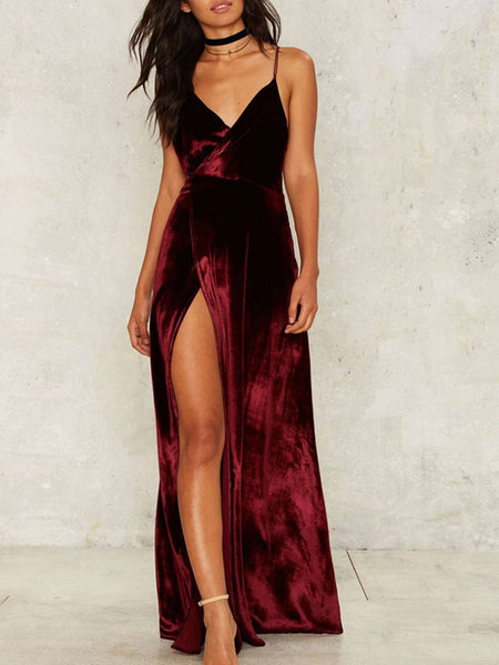 Burgundy V Neck Backless Velvet Split Maxi Prom Long Evening Dress