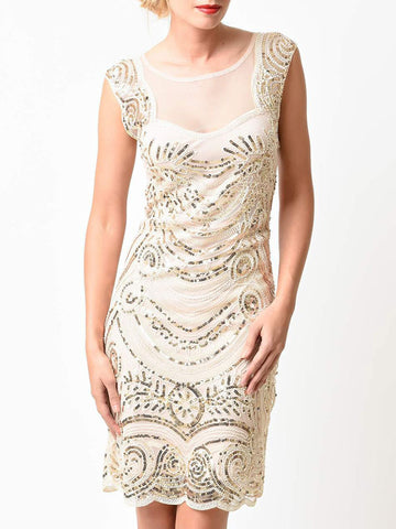 1920s Flapper Gatsby Vintage Sequined Short Gown Dress