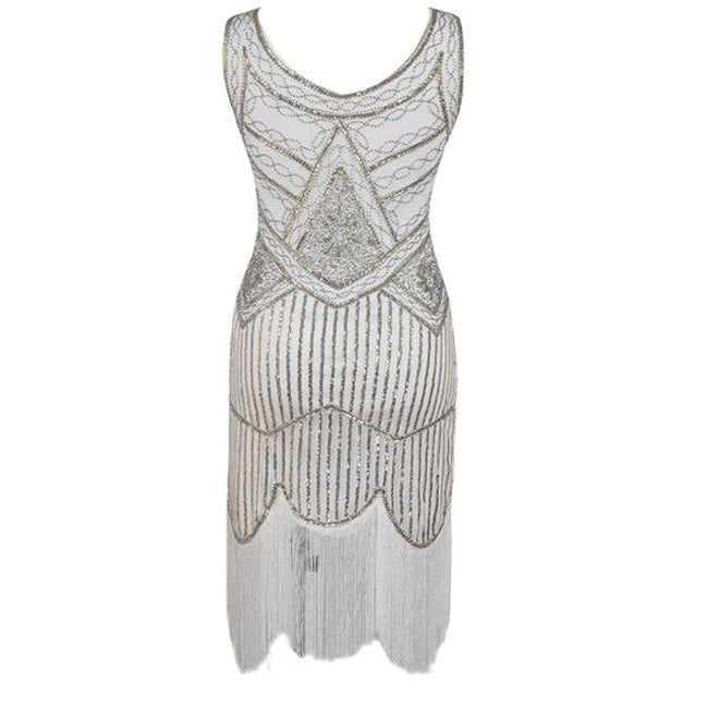 8eb5c1146ca07 Vintage 1920s Gold Silver Flapper Sequins Great Gatsby Dress – VSChic