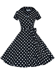 Vintage 50s Audrey Hepburn Short Sleeve Bowknot Polka Dot Swing Dress