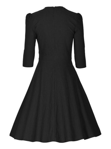 Vintage Audrey Hepburn Half Sleeve Buttons Inspired Swing Party Dress