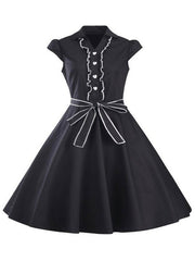 50s Vintage Dresses V-neck Short Sleeve Bows Flare Dresses