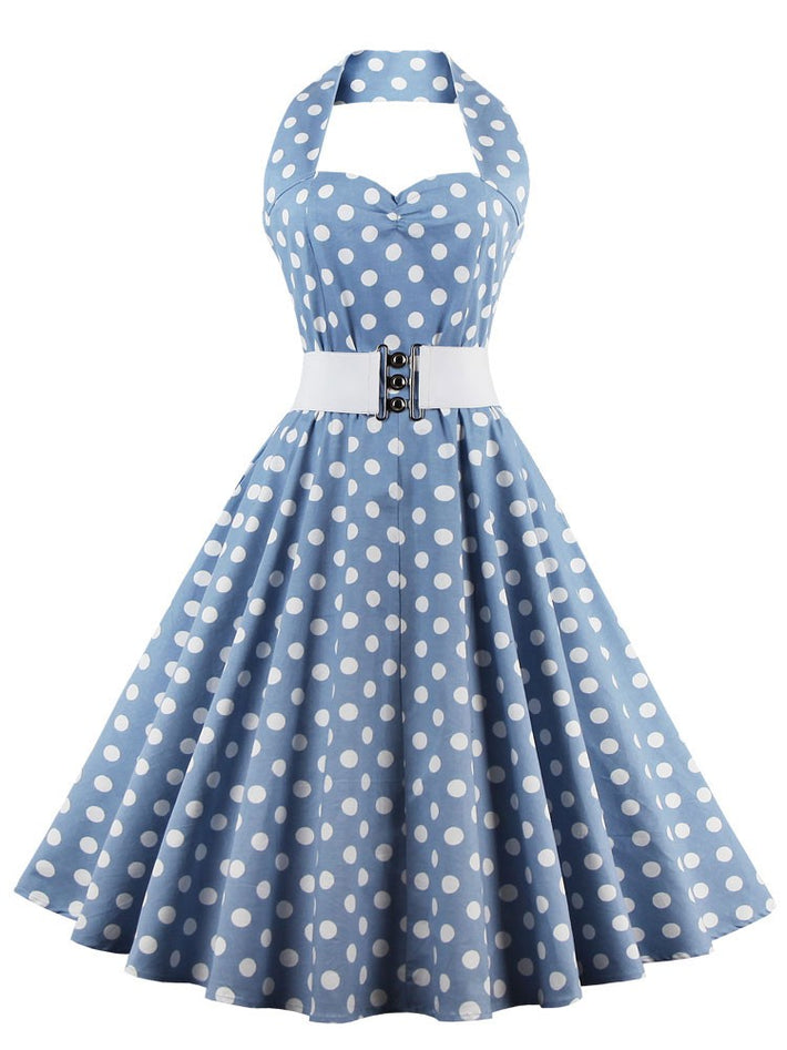 Plus Size Vintage Retro Halter Sweetheart Neck Polka Dot Flare Dress