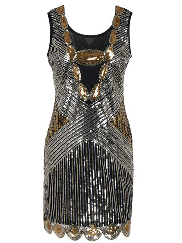 Vintage 1920s Sequins Great Gatsby Flapper Dress