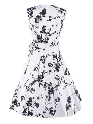 Vintage Style Black White Flowers 50S Bowknot Swing Inspired Dress