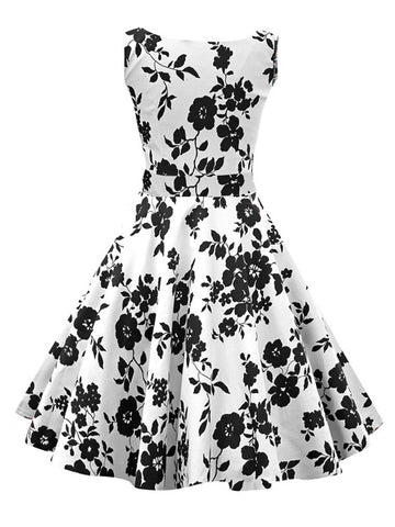White Audrey Hepburn 50s Flowers Print Cotton Vintage Swing Dress