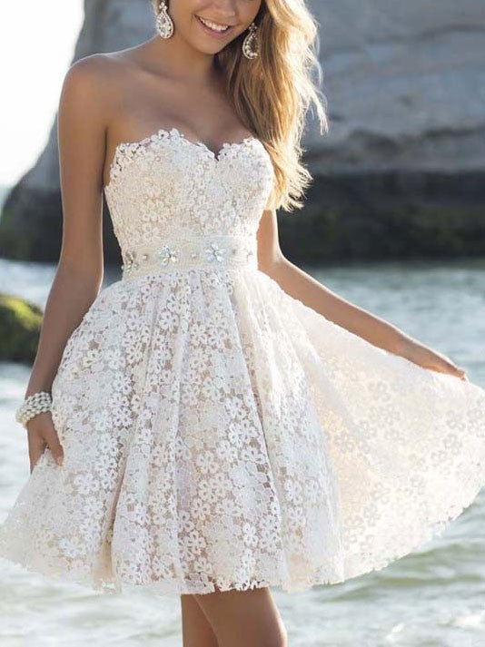 Homecoming White Lace Crochet Hollow Bridesmaid Party Prom Short Dress