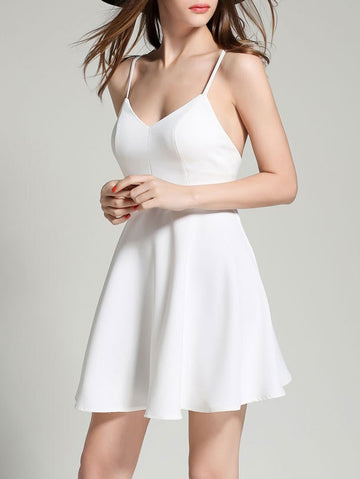 White Plunge V-neck Angel Wings Open Back Skater Cami Mini Dress