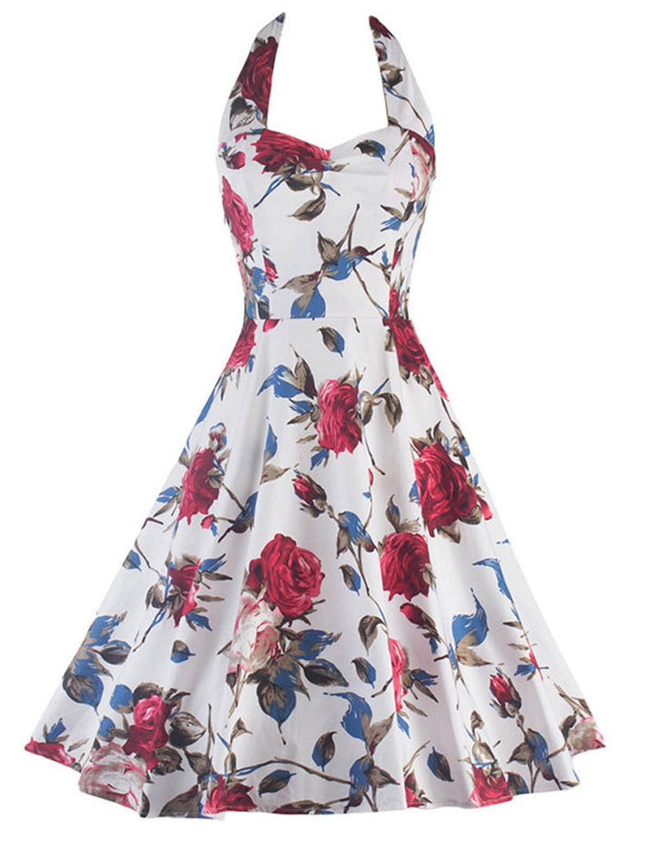 Flowers Print Retro Audrey Hepburn 50s Style Halter Swing Dress