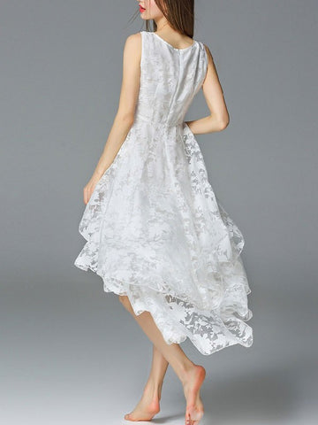 White Jacquard High Low Sleeveless floral Ruffle Dress
