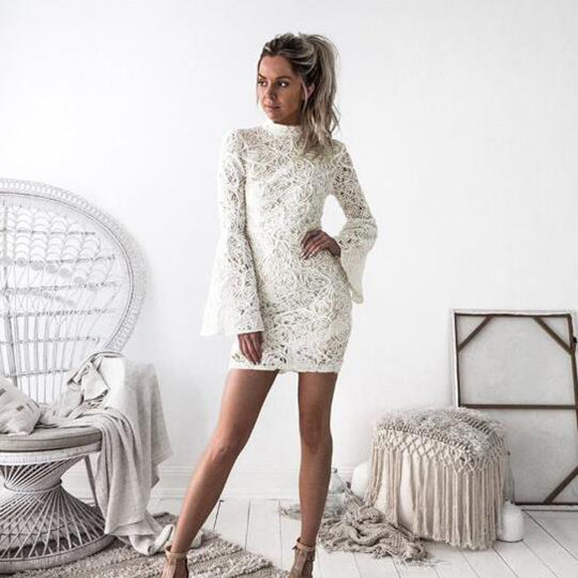 c08afffdb3 White Lace Crochet Long Sleeve Stand Collar Elegant Mini Bodycon Dress