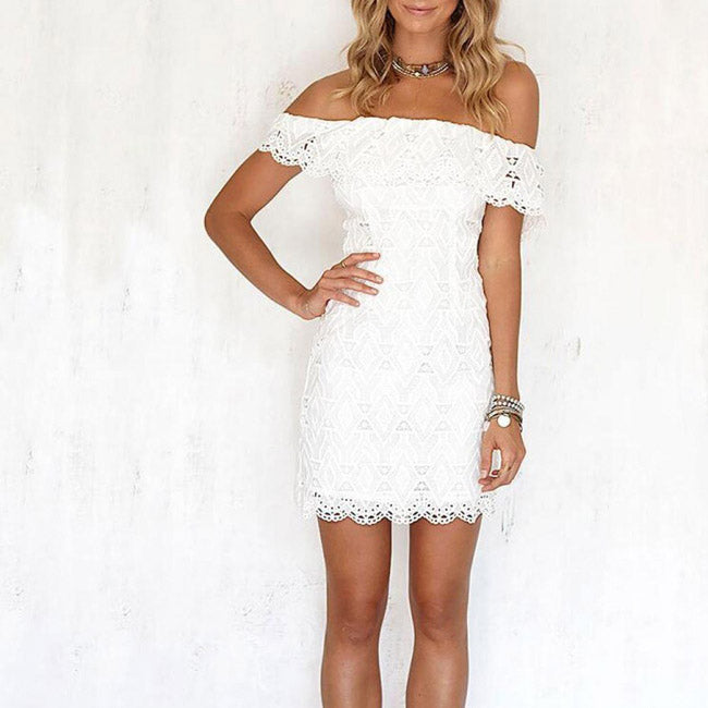 1dc6aed0b3 White Mini Summer Dresses Off Shoulder Lace Beach Bodycon Short Dress