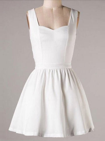 White Dress Sexy High Waist Blackless Bandage Short Dress