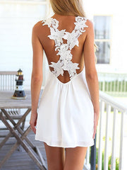 Summer Dress White V-neck Beach Short Dress