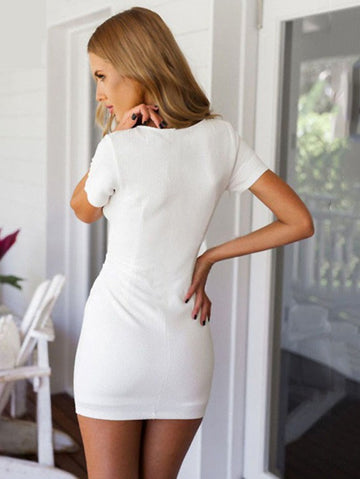 White Summer V-neck Short Sleeves Short Bodycon Dress