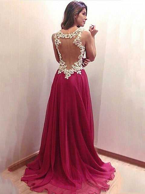 Wine Red V-neck Backless Lace Straps Evening Maxi Gown Dress