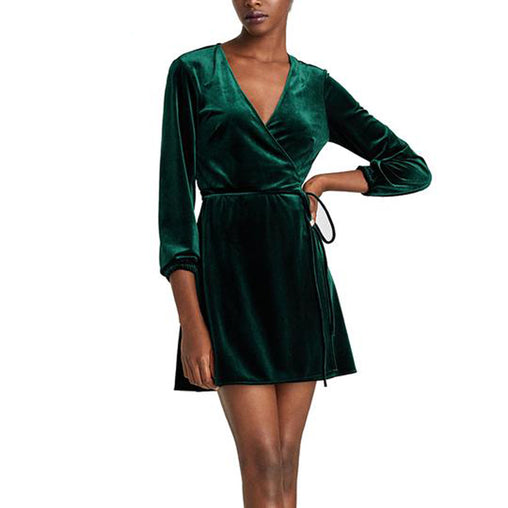 Winter Spring Elegant Long Sleeve V-Neck Wrap Velvet Short Dress