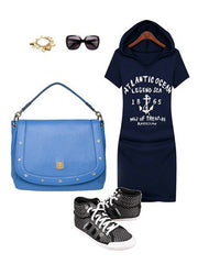 Letter Number 1865 Printed Hoodied Casual Sweatshirt Dress