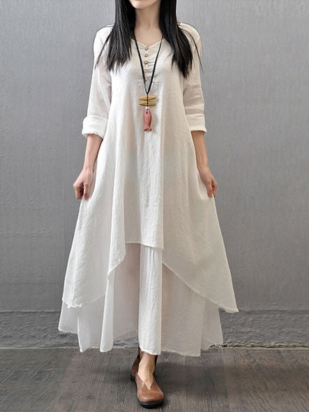 35d38056b0c Casual Daily Simple Chinoiserie Loose Long Sleeve Maxi Dress – VSChic