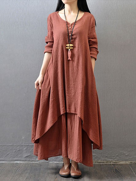 d256eca92db Casual Daily Simple Chinoiserie Loose Long Sleeve Maxi Dress – VSChic
