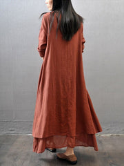 Casual Daily Simple Chinoiserie Loose Long Sleeve Maxi Dress