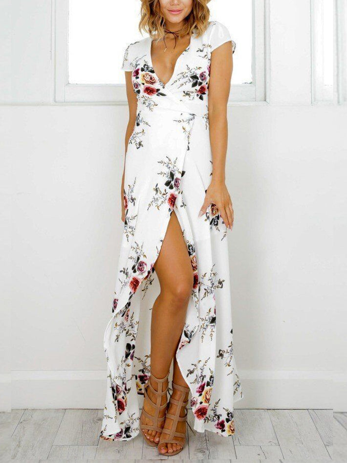 White Holiday Beach Deep V Neck Short Sleeve Floral Printed Split Maxi Dress