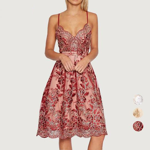 Women V Neck Lace Floral Embroidery Party Strap Midi Dress