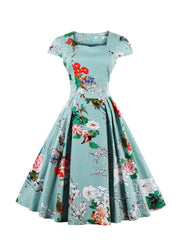 Vintage Retro Sweetheart Neck Cape Sleeve Floral Print Flare Dress