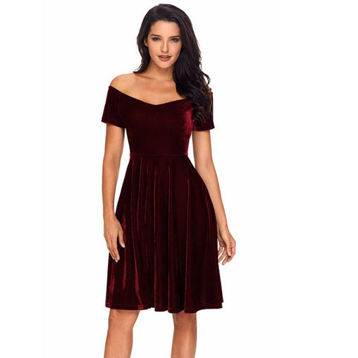 Womens Burgundy Off Shoulder Pleated Party Velvet Midi Dress