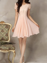 Summer Cute Lace Chiffon Pleated Dress