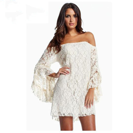 Womens Long Sleeve Off-The-Shoulder Loose Lace Mini Dress