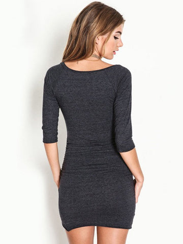 Slim Sexy Fashion Fifth Sleeve Round Neck Gray OL Cotton Bodycon Dress