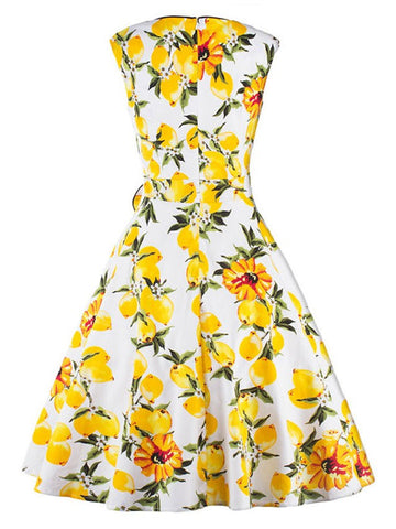 Yellow 1950s Retro Vintage Floral Cap Sleeve Party Swing Cocktail Dress