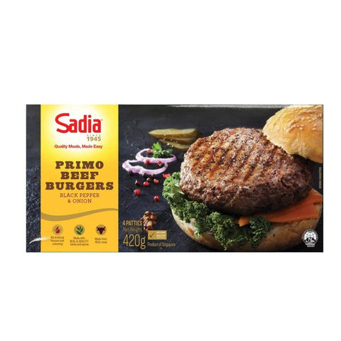 Primo Beef Burger Black Pepper & Onion (4 Patties) Sadia 420G Meat/seafood