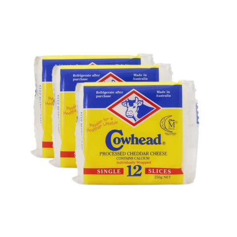 Processed Cheddar Cheese 12S Cowhead 24X250G Dairy