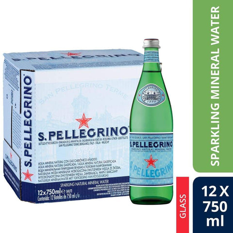 Sparkling Natural Mineral Water (Glass Bottle) San Pellegrino 12 X 750Ml