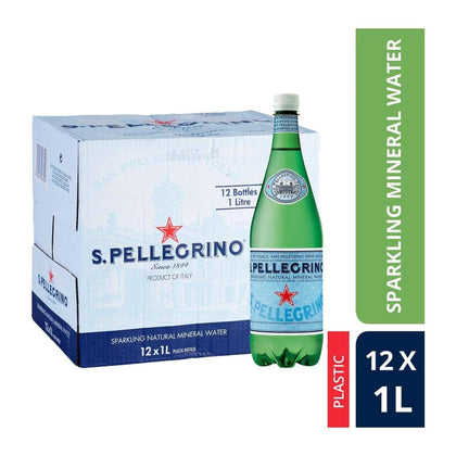 Sparkling Natural Mineral Water (Plastic Bottle) San Pellegrino 12 X 1L